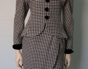 1980s Victor Costa Curvy Wool Skirt Suit // 1940s Style // Wool Houndstooth Black and White