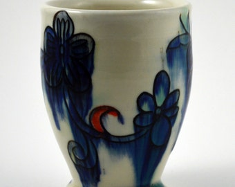 Porcelain Tumbler and Great Gift Idea! Blue, Turquoise and Red Porcelain Tumbler with floral motif