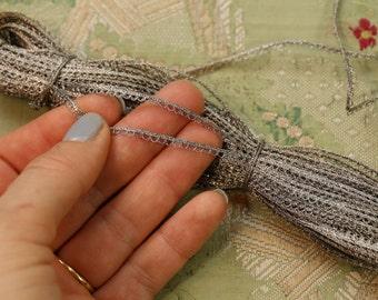 2.75 yards tiny picot metal cord antique flapper ribbonwork metal silver trim soutache braid cording trim ribbon