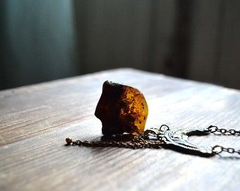 Raw Baltic Amber and Bronze Moon Necklace - brown Amber pendant, chain tassel and ornamented Folk style moon necklace