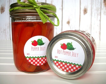 Gingham Hot Pepper Jelly canning labels, round mason jar stickers for vegetable preservation, regular or wide mouth pepper jelly jar labels