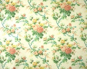 Cream Peach Floral Print, Quilting Cotton Fabric, Pink Yellow Rose Sprays, Green Leaves, 44 x 34, B33