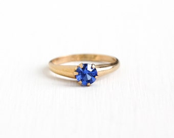 Vintage 10k Yellow Gold Filled Simulated Sapphire Ring - 1940s Size 6 Round Blue Rhinestone Solitaire September Birthstone Jewelry