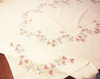 """Vintage Embroidered Table Cloth, White Tablecloth with embroidered flowers, 63"""" x 50""""  B"""