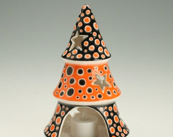 Halloween Decor, Halloween Decoration, Ceramic Star Luminary Candleholder comes with Battery Powered Tea Lite Votive
