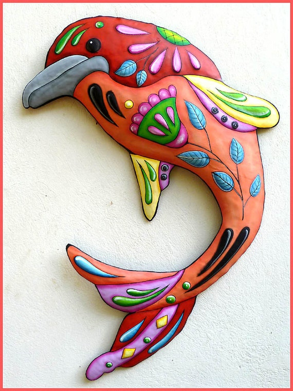 Dolphin Outdoor Wall Decor : Painted metal dolphin wall hanging decor