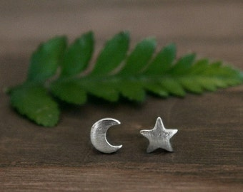 Silver Star Moon Stud Earrings/Mix Matched Earring Set/Tiny Crescent Moon and Star Stud Earrings