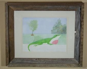 Original watercolor painting, unframed art, green anole lizard