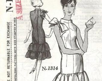1960s Sheath Cocktail Dinner Dress Larry Aldrich Sleeveless Funnel Neck Ruffles Bow Spadea Designer N-1314 FF Women's Vintage Sewing Pattern