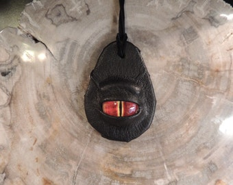 Dragon eye pendant (Black leather with Red  eye)