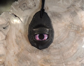 Dragon eye pendant (Black leather with Purple  eye)