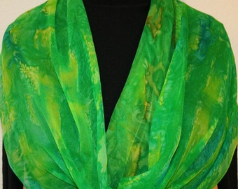 Silk Scarf Handpainted. Green, Lime, Yellow, Turquoise Handmade Silk Wrap RAINFOREST SPLASHES. Large 14x72. Birthday Gift, Mother's Day