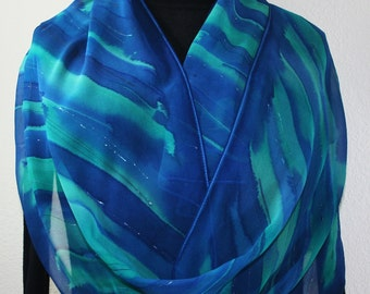 Blue Hand Painted Silk Scarf. Turquoise Handmade Shawl LAGOON BLISS, by Silk Scarves Colorado. Large 14x72. Birthday, Anniversary Gift
