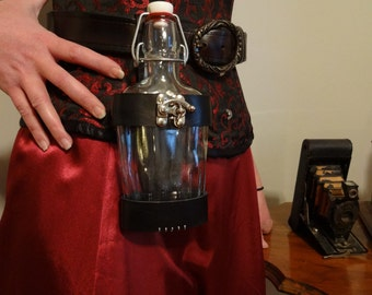 8oz Glass Swing Top Flask and Leather Holster / Holder for Steampunk Pirate or Renaissance