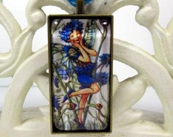 Blue Cornflower Flower Fairie, Fairy Art Glass Pendant Necklace, Handmade OOAK