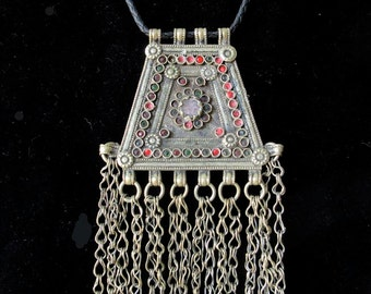 Antique Kutchi Banjara Coin Silver Gypsy Pendant Necklace w/ Long Chain Dangles