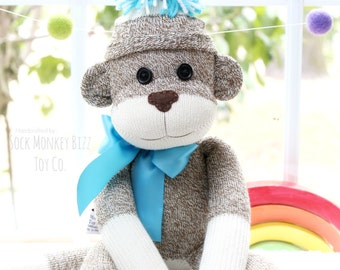 Sock Monkey Doll, Chimp, Stuffed Child's Toy, Dolls for Boys