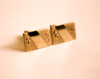 Gold Tone Embossed Cuff Links