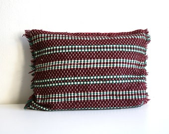 SALE Burgundy Woven Textile Pillow