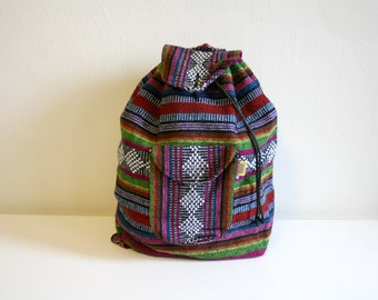 Multi Colored Woven Textile Backpack