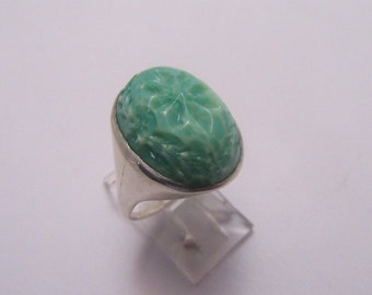 1930s Molded Green Glass Sterling Ring