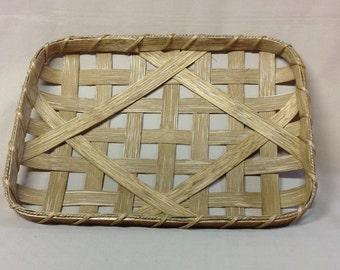 "10"" x 16"" Hand Woven Rectangular Tobacco Basket, Smaller Replica, Walnut Stain"
