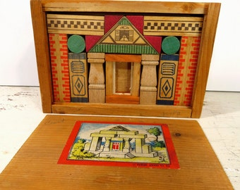 Vintage Miniature Build a House Wooden Blocks, 1950s Germany, Dovetail Wooden Box