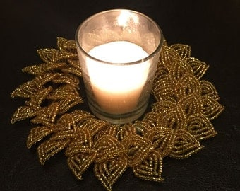 Gold French Beaded Decorative Mini-Wreath