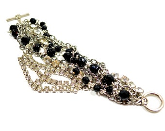 Vintage Rhinestone Bridal Bracelet, Wedding Bracelet, Silver & Jet Black Antique Beaded Bracelet by Dabchick Vintage Gems