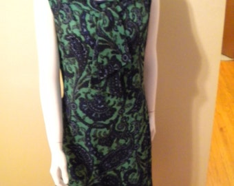 Vintage 1960s Paisley Mod Psychedelic Pussy bow Collar cotton blend Dress size medium