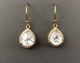 Cystal Earrings Bridal Silver Earrings With Cubic Zirconia