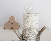 exposed bulb white birch forest lamp - natural white birch wood