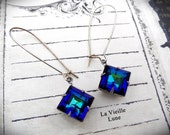Bermuda Blue Crystal Victorian Earrings, Victorian Jewelry, Gothic Jewelry