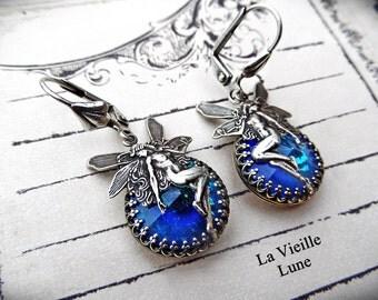 Aqua Fairy Earrings, Jewel Earrings, Crystal Drop Earrings, Victorian Earrings, Victorian Jewelry, Gothic Jewelry