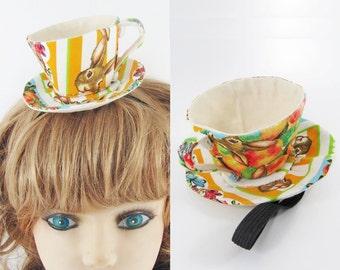 Ready to Ship! Textile Teacup Fascinator-Rabbits, Hares Orange Stripe *Alice in Wonderland's Mad Hatter Tea Party!*