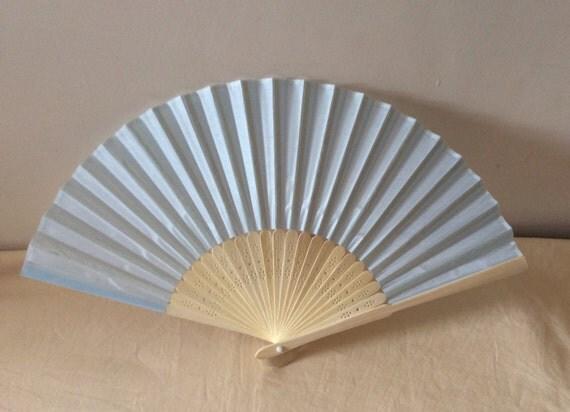 Regency/Victorian Style Fan. Pale blue Silky Fan. Bridal Favour.