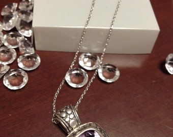 Blowout Sale. Vintage Amethyst 925 Sterling Silver Cushion Pendant with Necklace set. Pretty. Elegant.