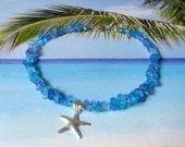 Blue sea mix ankle bracelet starfish anklet beach ankle bracelet boho anklet beach wedding jewelry