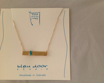 Hammered Gold Filled Bar Necklace with Turquoise Wrapped in Gold Filled Wire