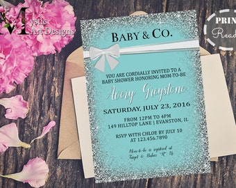 Baby and co Baby Shower Invitation, Girl baby shower, Printable, Customized, Baby & Co, Teal and White bow, Breakfast at Tiffanys