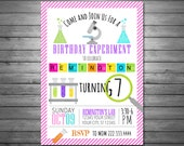 Science Birthday Invitations, Printable, Girls Science Birthday Party, Science Invitation, Science Party, Mad Science Party, Exper