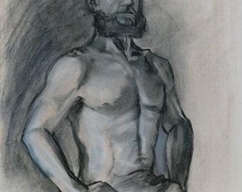original charcoal drawing, male torso, life drawing, Bearded Man, figure drawing, mixed media