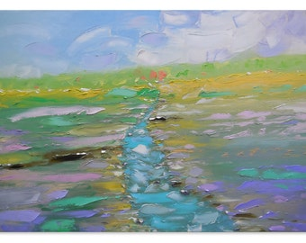 Angisa - Large artwork Impasto painting Bright artwork Intuitive art Expressive art Horizontal canvas Pastoral painting Impressionistic 39""