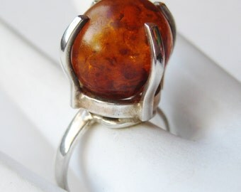 Vintage Ring Baltic Amber Mid Century Modernist Sterling Silver Ring size 9