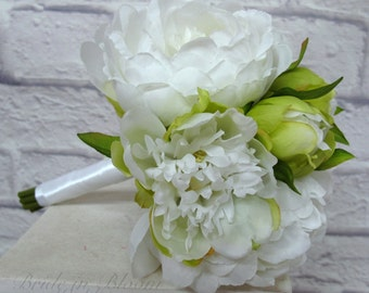 Peony Wedding bouquet White green Bridesmaid bouquet