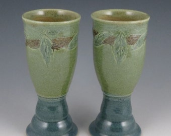 Goblets in Slate Blue and Heather Green with Leaves - Set of 2