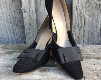 1950s Black Suede Pumps