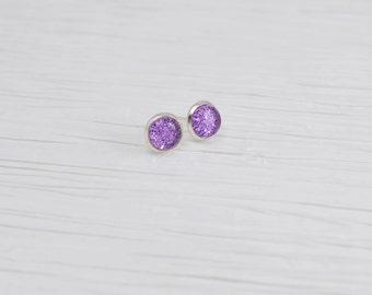 Purple Glitter Earrings, 8mm Stud Earrings, Purple Stud Earrings, Glitter Earrings, Nail Polish Jewelry, Faux Plugs, Silver Stud Earrings