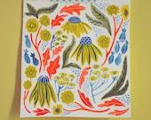 Primary Flowers- original gouache painting