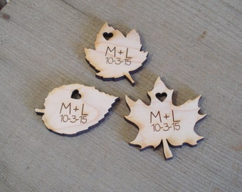 210 Wood Leaf Wedding Favors Personalized Autumn Wedding Favors